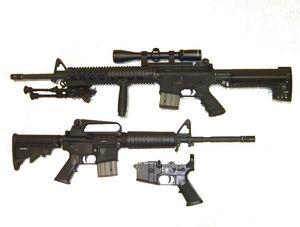 M16: ganz unten das Teil, das gedruckt wurde (Foto: Wikipedia, gemeinfrei)