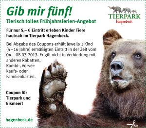 """Vorschau-Coupon für Hagenbeck-Aktion """"Gib mir fünf"""""""