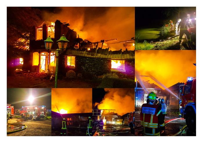 Großfeuer auf Gutshof – Drei Bewohner und 55 Tiere gerettet