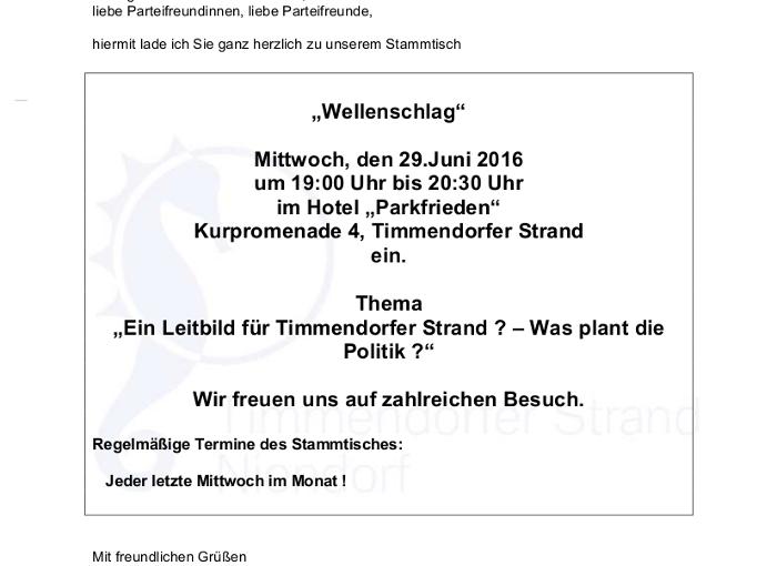 Einladung zum CDU Stammtisch – Timmendorfer Strand