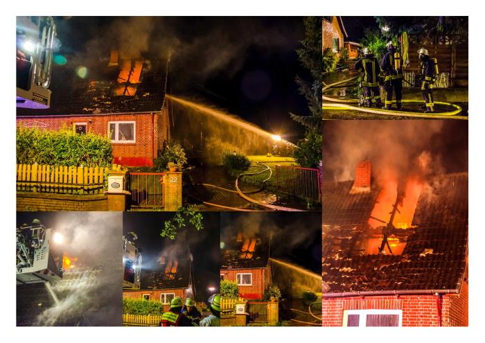 Einfamilienhaus in Benz völlig zerstört / Dachstuhl brennt aus – 70 Feuerwehrleute im Einsatz